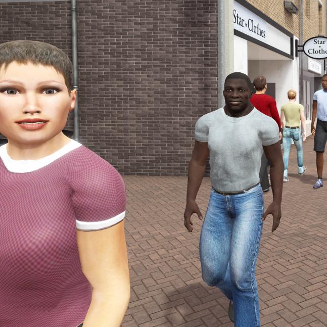 Twee mensen in winkelstraat in VR