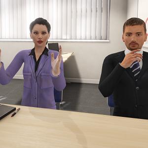 Twee menen in kantoor in VR