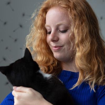 vrouw met kat