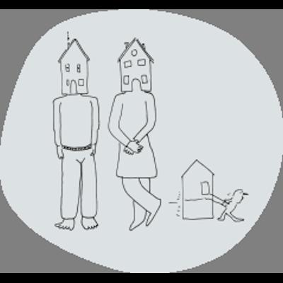 illustratie twee mensen met huis ipv hoofd