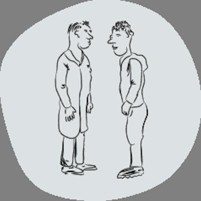 illustratie twee mensen in gesprek