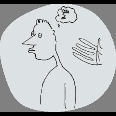 illustratie man met donderwolk